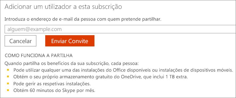 """Captura de ecrã da caixa de diálogo """"Adicionar um utilizador a esta subscrição""""."""