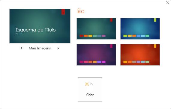 Apresenta as opções de Variação de cor do tema no PowerPoint