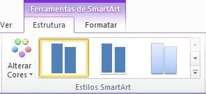 O grupo Estilos de SmartArt no separador Estrutura em Ferramentas de SmartArt