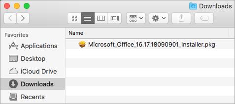 O ícone Transferências na Dock mostra o pacote de instalação do Office 365