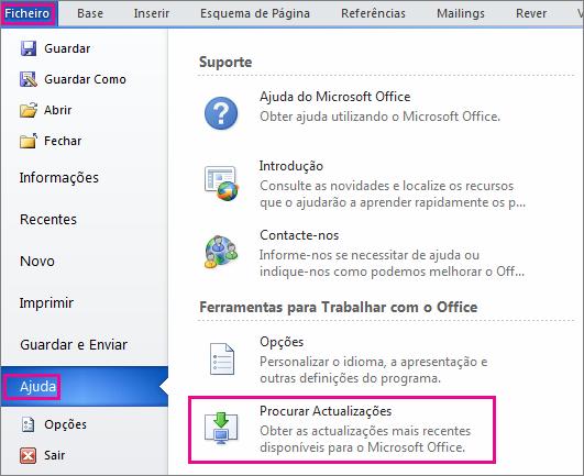 Procurar manualmente atualizações do Office no Word 2010