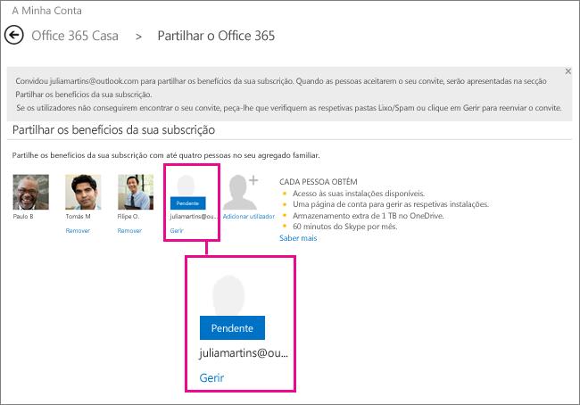 Captura de ecrã da página Partilhar do Office 365 com uma subscrição de utilizador partilhada pendente selecionada.