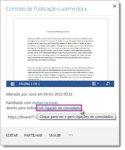 Caixa de diálogo Propriedades a mostrar que um documento foi partilhado com uma ligação de convidado.