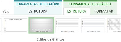 Grupo Estilos de Gráfico no separador Estrutura de Ferramentas do Gráfico