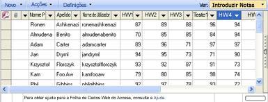 A vista de folha de dados Introduzir Notas permite actualizar as notas.