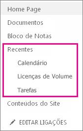 A ligação Recentes na Iniciação Rápida apresenta as páginas, listas e bibliotecas criadas recentemente