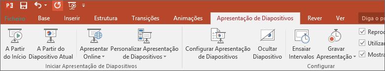 Mostra o separador Apresentação de Diapositivos no friso no PowerPoint