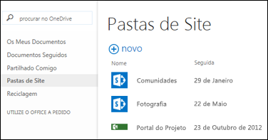 Selecione as Pastas de Sites na Barra de Ação Rápida no Office 365 para visualizar a lista de sites do SharePoint Online que está a seguir.