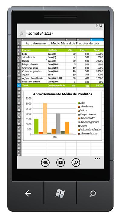 Livro do Excel aberto no telemóvel