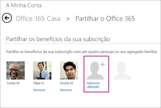 """Captura de ecrã da página Partilhar o Office 365 com a opção """"Adicionar utilizador"""" selecionada."""