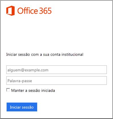 Ecrã de início de sessão do Office 365