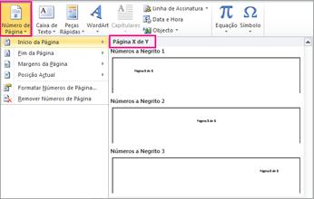 Selecionar um formato de página X de Y