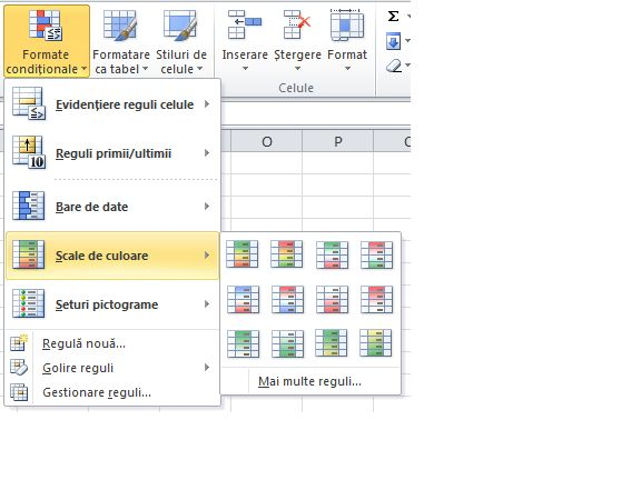 Scale de culoare pentru formatarea condițională