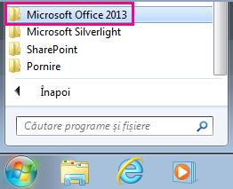 Grupul Office 2013 sub Toate programele în Windows 7