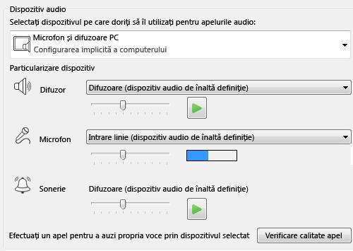 Captură de ecran a casetei de selectare Dispozitiv audio, unde puteți seta calitatea sunetului