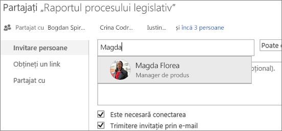 Captură de ecran a partajării unui fișier în OneDrive pentru business