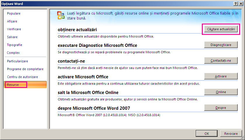 Căutarea actualizărilor Office în Word 2007