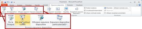 Fila Expunere diapozitive, în PowerPoint 2010, privire asupra grupului Pornire expunere diapozitive.
