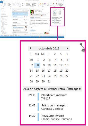 Comanda Eliminare sumar din sumarul Calendar fixat