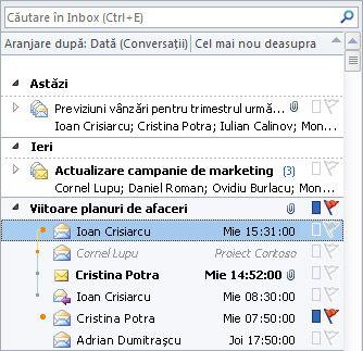 Conversații din lista de mesaje Inbox