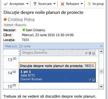 Vizualizare rapidă Calendar în mesajul de solicitare de întâlnire