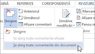 Comanda Ștergerea tuturor comentariilor din document în meniul Ștergere comentarii