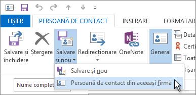 Crearea unei persoane de contact din aceeași firmă