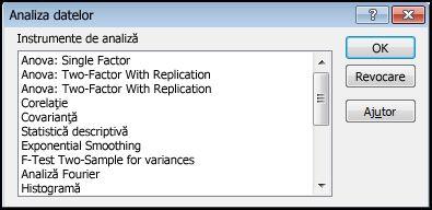 caseta de dialog Analize date