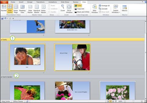 Utilizarea secțiunilor pentru a separa diferite tipuri de conținut