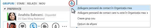 În fereastra principală Lync, faceți clic pe butonul Adăugare persoană de contact.