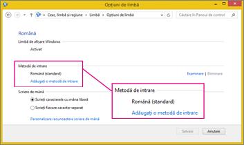 Adăugare metodă de intrare în Office 2016, Windows 8