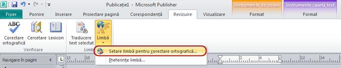 Butonul Limbă din Panglica Publisher