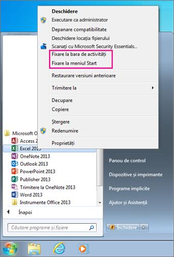 Fixați aplicația Office la meniul Start sau în bara de activități din Windows 7