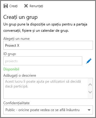 Captură de ecran cu tastarea unui nume și clic pe Creare pentru a crea un grup din OneDrive pentru business
