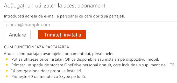 """Captură de ecran cu caseta de dialog """"Adăugați un utilizator la acest abonament""""."""