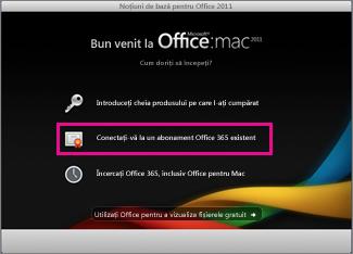 Pagina de pornire a programului de instalare Office pentru Mac atunci când vă conectați la un abonament Office 365 existent.
