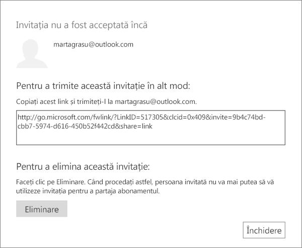 Captură de ecran cu caseta de dialog pentru o invitație în așteptare, cu un link de trimis prin e-mail și un buton pentru a elimina invitația.