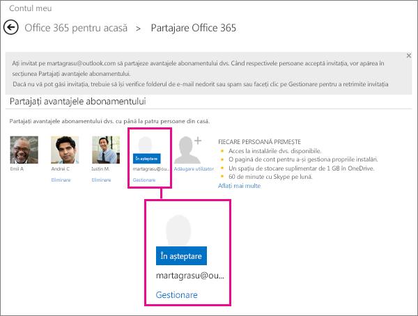 Captură de ecran cu pagina Partajare Office 365, cu un utilizator de abonament partajat în așteptare selectat.
