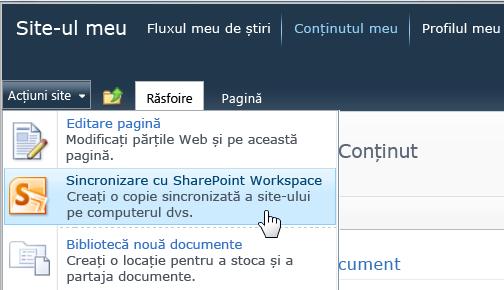 Comanda Sincronizare cu SharePoint Workspace din meniul Acțiuni site