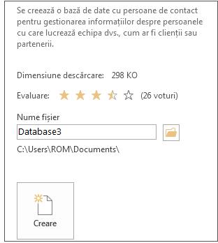 Crearea unei baze de date desktop Access dintr-un șablon