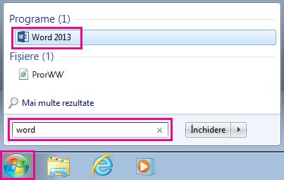 Căutarea aplicațiilor Office în Windows 7