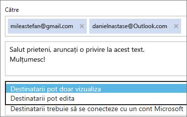 Alegerea opțiunilor Doar vizualizare și Este necesară conectarea în e-mailul de invitație