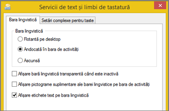 Servicii text și limbi de tastatură în Office 2016, Windows 8