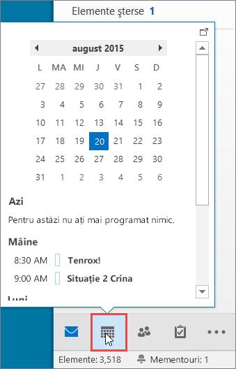 Sumar Calendar cu pictograma Calendar evidențiată