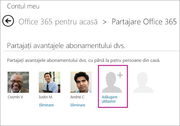 """Captură de ecran cu pagina Partajare Office 365 cu opțiunea """"Adăugare utilizator"""" selectată."""