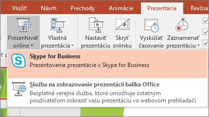 Zobrazenie možnosti prezentovania online vPowerPointe