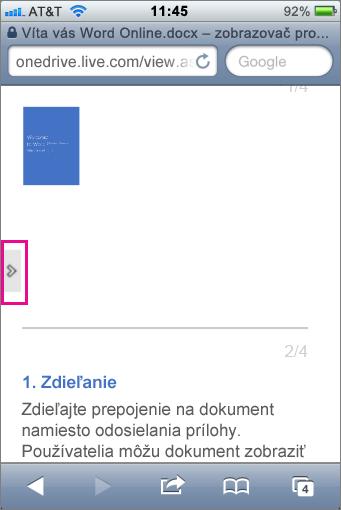 Otvorenie panela s nástrojmi ťuknutím na zobrazovače Mobile Viewer balíka Office