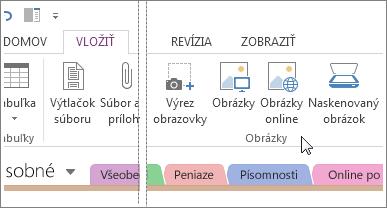 Vloženie obrázkov do programu OneNote.