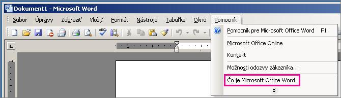 Pomocník > O programe Microsoft Office Word vo Worde 2003