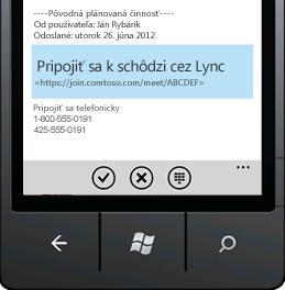 Snímka obrazovky zobrazujúca položku Pripojiť sa k schôdzi cez Lync v mobilnom zariadení